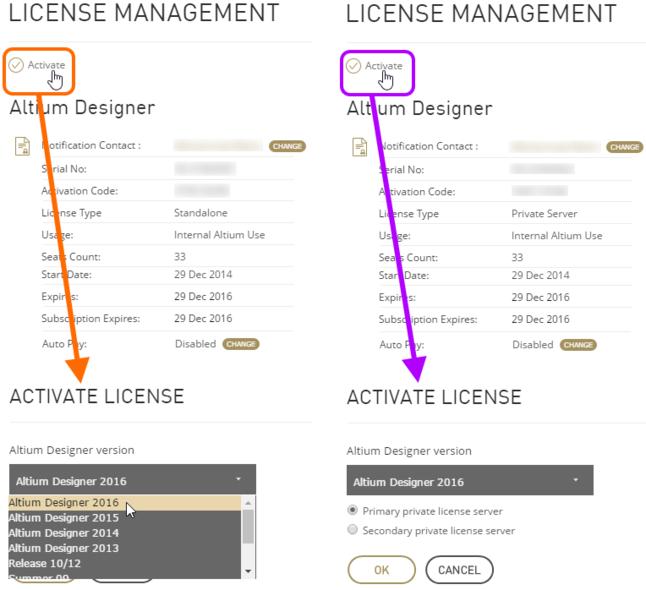 选择激活单机许可证(左)或网络许可证(右)的Altium Designer版本。