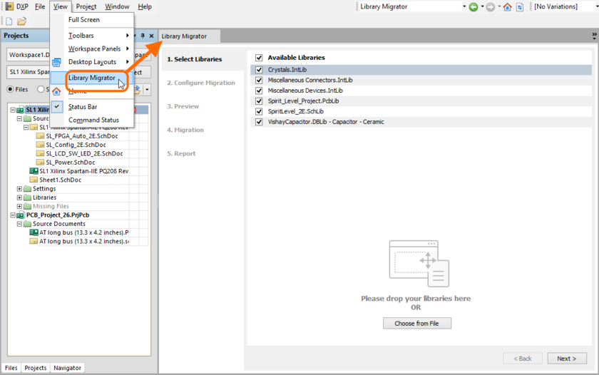 Accessing the Library Migrator view - the user interface to the component migration process.
