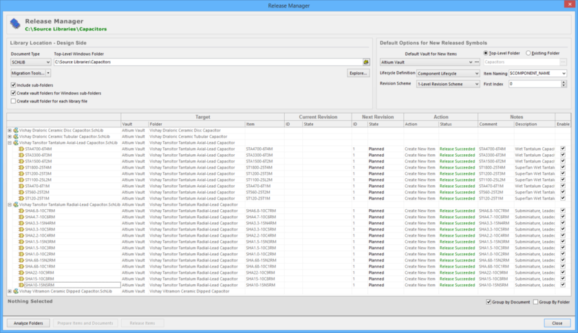 Release schematic symbols, stored in one or more source documents, using the Release Manager.