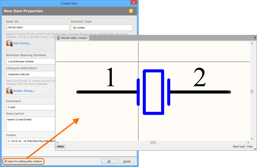 Example of editing the initial revision of a Symbol Item, directly from the vault - the temporary Schematic Library Editor provides the document with which to define your schematic  symbol.