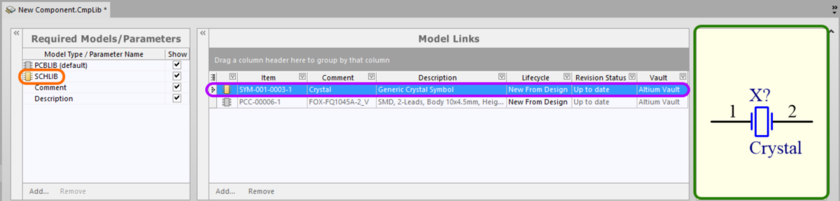 Example of referencing a revision of a Symbol Item as a model link in a Component Library, when direct editing the definition for a Component Item (vault component).