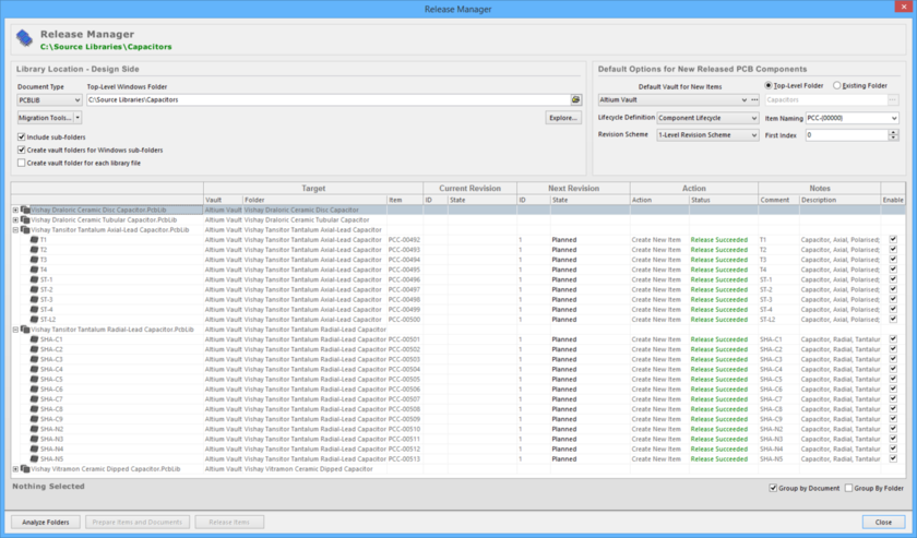 Release PCB 2D/3D component models, stored in one or more source documents, using the Release Manager.