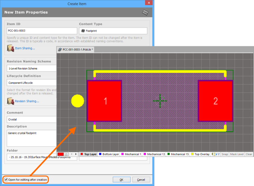 Example of editing the initial revision of a Footprint Item, directly from the vault - the temporary PCB Library Editor provides the document with which to define your PCB 2D/3D  component model.
