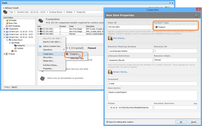 Creating a Footprint Item within a Footprints folder - the correct Content Type is available on the context menu.