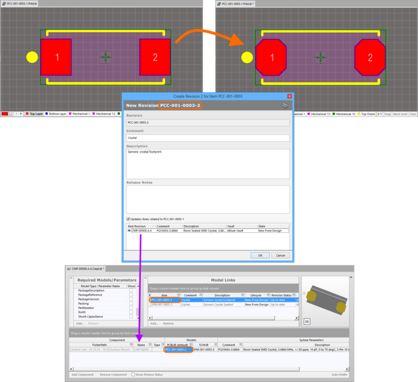 Example of pushing a change made to a Footprint Item, through to a Component Item that references it.