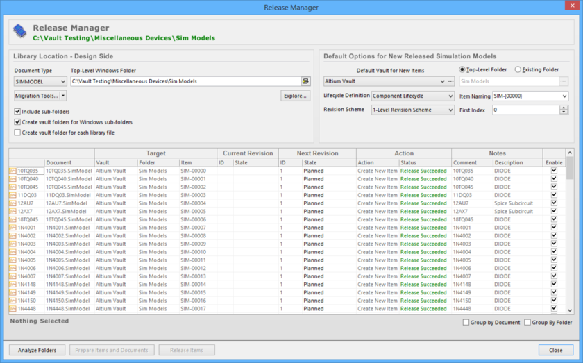 Release simulation model definitions, stored in one or more source documents, using the Release Manager.