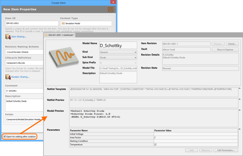 Example of editing the initial revision of a Simulation Model Item, directly from the vault - the temporary SimModel Editor provides the document with which to define your  simulation model.