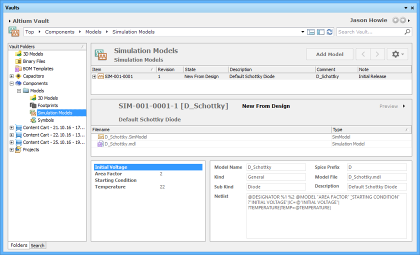 Browse the released revision of the Simulation Model Item, back in the Vaults panel. Switch to the Preview aspect view to see the released data.