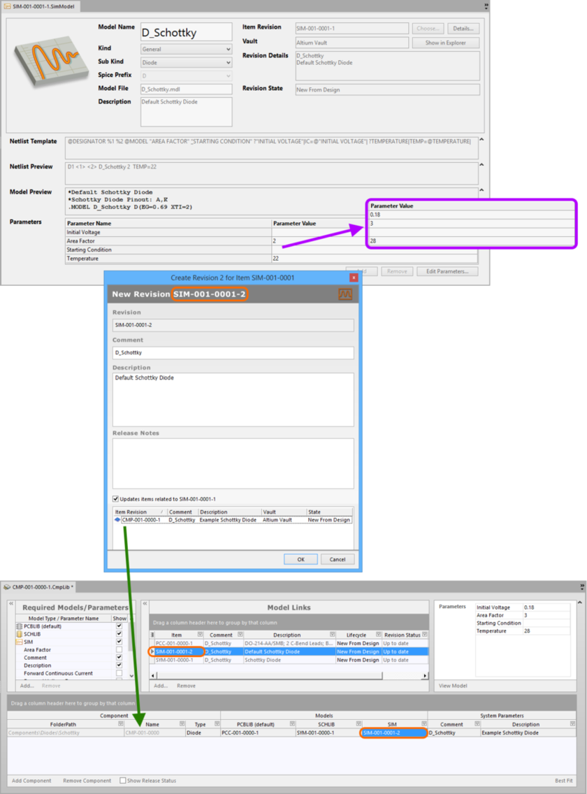 Example of pushing a change made to a Simulation Model Item, through to a Component Item that references it.