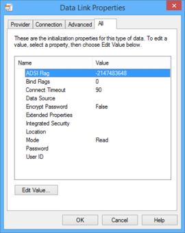 The four tabs of theData Link Properties dialog