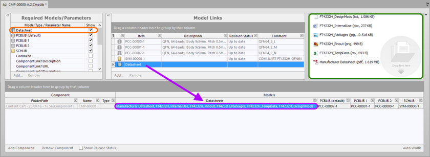 Linking various datasheets, as seen from the perspective of editing a component in the Component Library Editor.