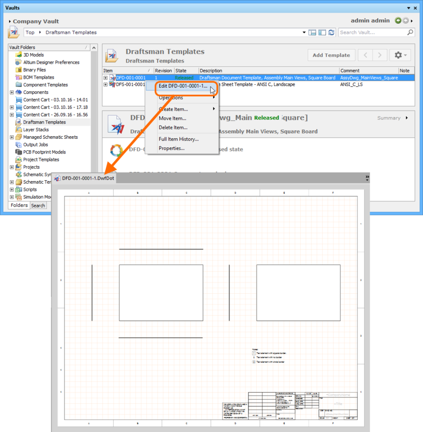 Example of accessing the command to launch direct editing of an existing revision of a Draftsman Document Template Item.