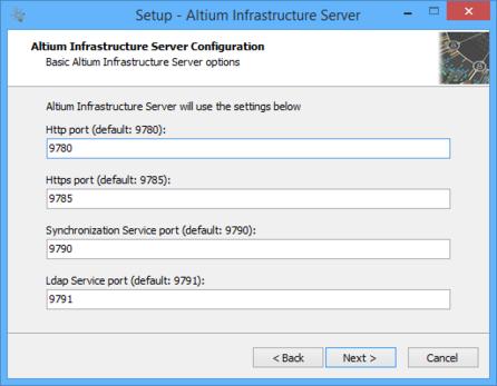 Задайте номера портов для сетевых соединений сервера.
