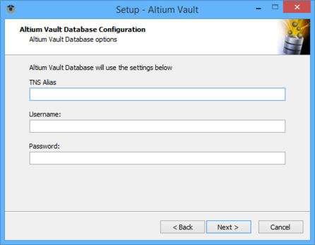 Specify access to your company's Oracle database, which will be used by the Altium Vault.