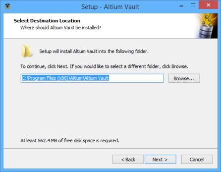 Determine install location for the Altium Vault.