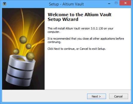 Initial welcome page for the Altium Vault Setup wizard.