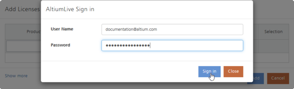 When using cloud-based licensing, you will need to supply your AltiumLive login credentials.
