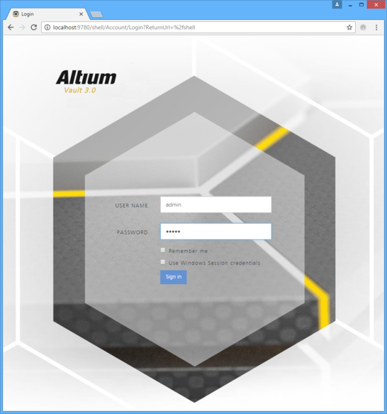 Sign in to your Altium Vault through its browser-based interface.