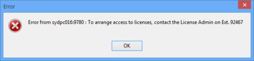 A modified Error dialog message for a 'code 2' condition.