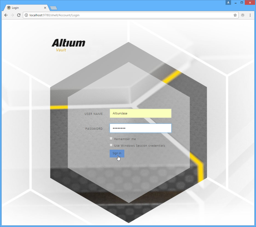 Access an Altium Vault, and its associated platform services, through a preferred external Web browser. Roll the mouse over the image to see the effect of successfully signing  in to the interface.