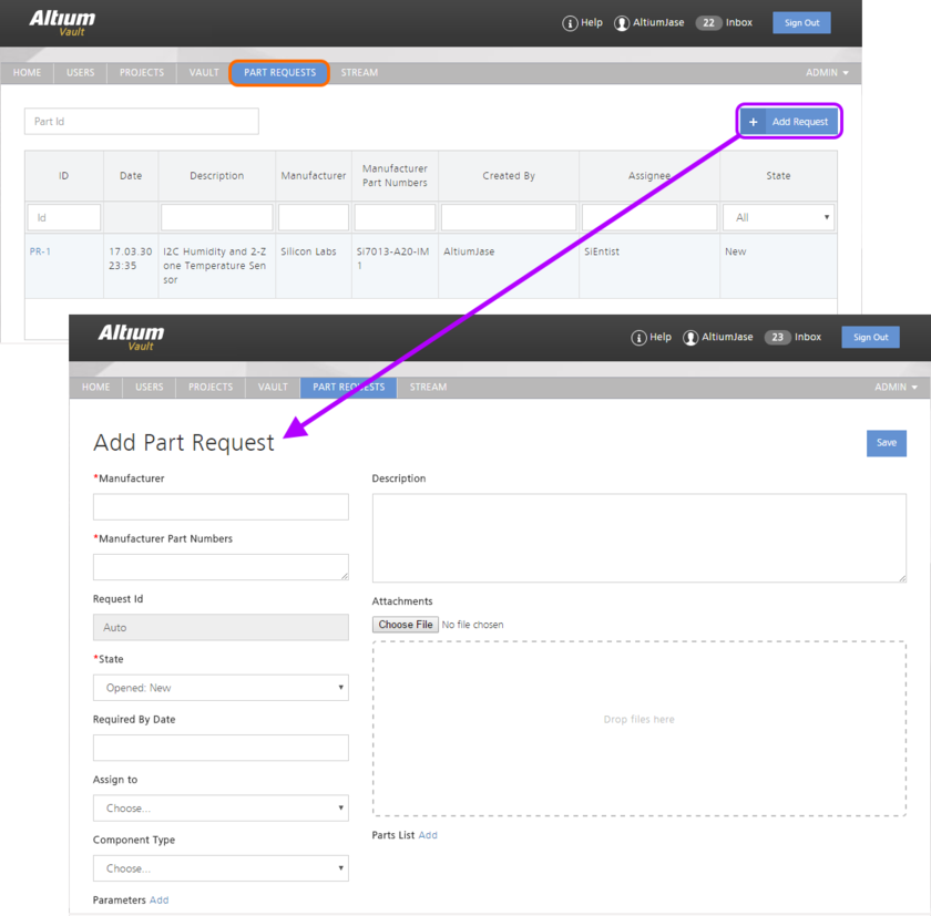 Create and manage requests for new parts through the Part Requests area of the Vault's browser-based interface.