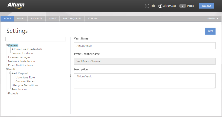 The Settings area - part of the admin-only pages within the Vault's browser-based interface.