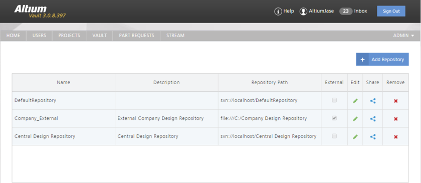 The browser-based interface to the Altium Vault's local SVN-based VCS service.