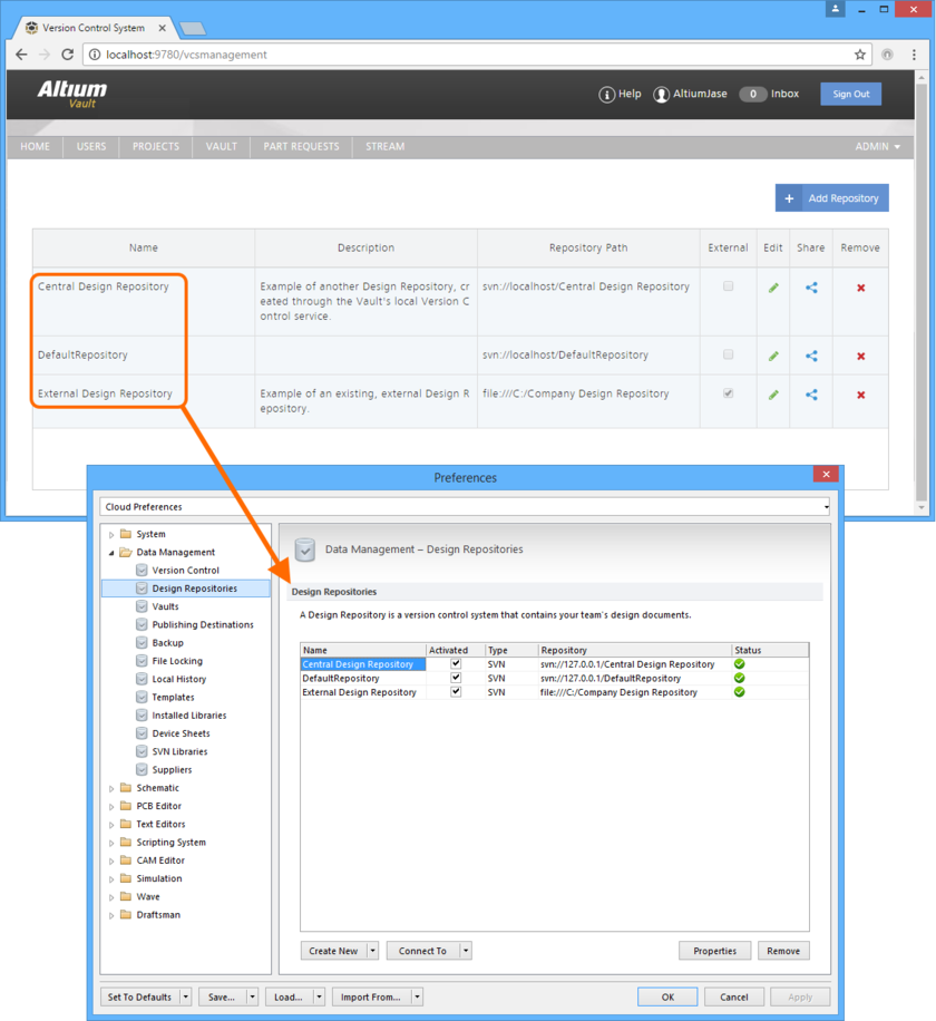 Centrally define access to your organization's Design Repositories. Repositories can be internal to the Altium Vault installation, defined using the local Version Control service, or external  through use of Altium Designer's built-in SVN, or third party SVN service. Access control is performed through the VCS page of the Altium Vault's browser-based interface. When a user  signs in to the Altium Vault, the Design Repositories available to them will automatically be added to the Data Management - Design Repositories page of the Preferences dialog.