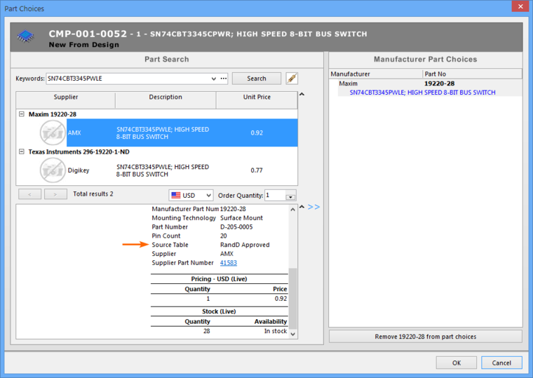 Manufacturer and supplier information sourced from a local Parts Database can be directly added to components in the Vault as a Parts Choice list.