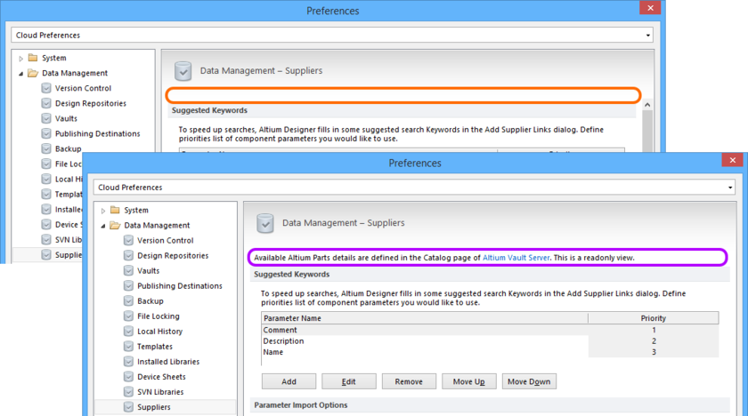 If the Altium Parts Provider extension is not installed as part of your installation of Altium Designer, the ability to link to Supplier data will not be possible, even if you have  configured the provider on the Vault side, and are signed into that Vault.
