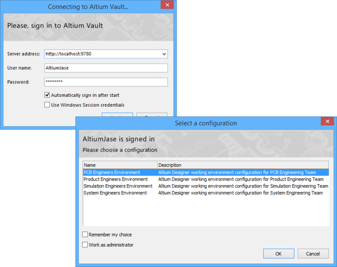 If multiple environment configurations apply to a user, that user will be presented with the choice at the time of signing into the Altium Vault.
