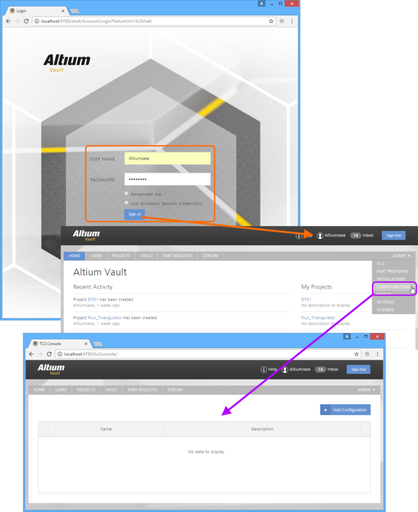 Access of the Team Configuration Center's browser-based user interface - through a preferred external Web Browser.