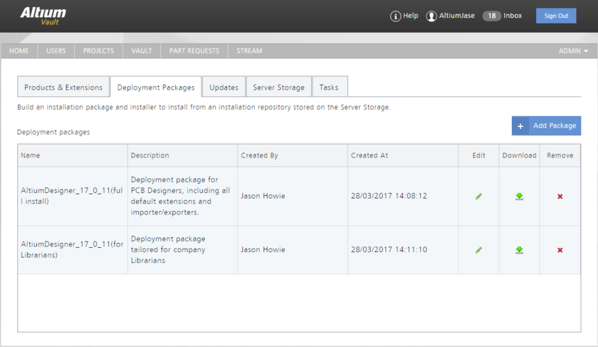 The Deployment Packages tab of the NIS interface - command central for fashioning deployment packages that can then be downloaded and used within your organization.