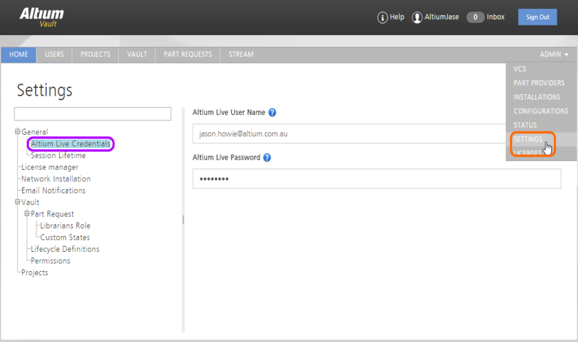 Enter your AltiumLive credentials as part of the general settings for the Vault. These are required to be able to acquire Altium products and extensions from Altium's secure  storage in the cloud (the Altium Cloud Repository, if you will). Hover over the image to see an example of these fields filled in. Remember to click the Save button to effect the changes  made to this page.