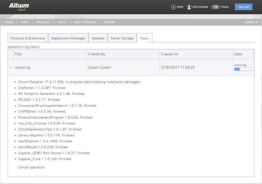The Tasks tab of the NIS interface is where you can view a task that is currently running, or tasks that have been run - an operational log as it were. Hover over the image to  see the task run to completion. Notice that in our underlying example, whereby a single product was chosen for acquisition, all extensions related to that version of product, and  that are installed by default when that product itself is installed, are also acquired.