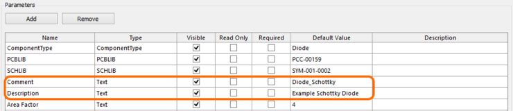 Specify Comment and Description parameters as part of your template.