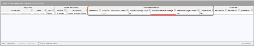 Appearance of example template-based parameters in the area where the component definitions themselves are defined.