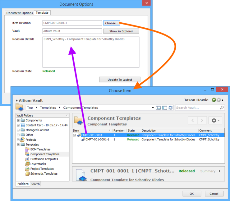 Manually linking the component library to a revision of a Component Template Item, in the target vault.