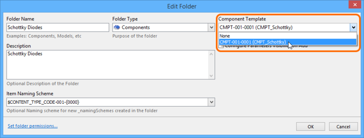 Specify a default Component Template Item, to be applied to all Component Items created within the Components folder.