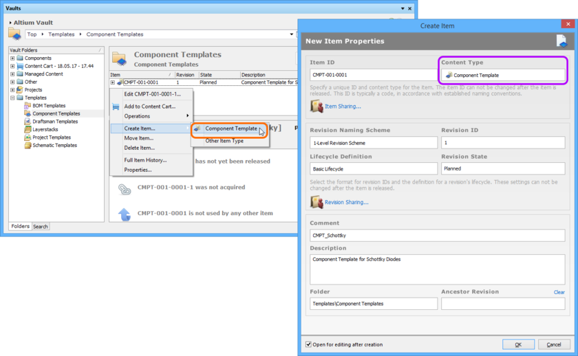 Creating a Component Template Item within a Component Templates folder - the correct Content Type is available on the context menu.