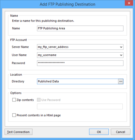 Define the connection to an FTP server.