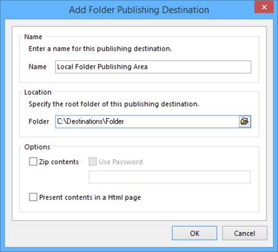 Define the connection to a folder publishing destination.
