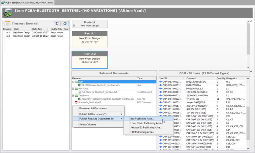 Access publishing-related commands for a particular revision of an Item from within the detailed Item view.