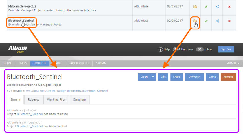 Accessing the detailed Project view for a managed project.