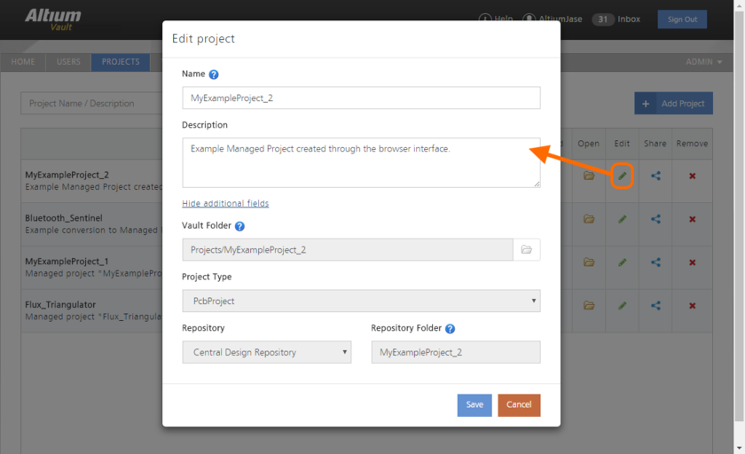 You can edit the Name and Description for a Managed Project at any stage.
