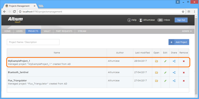 The newly-created Managed Project, evident on the PROJECTS page of the Vault's browser interface.
