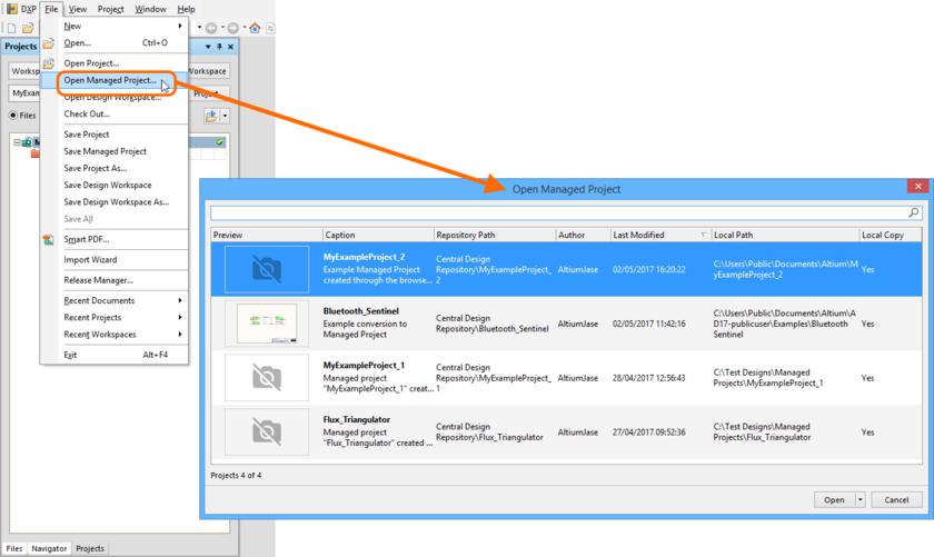 Managed Projects | Altium Vault 3 0 User Manual | Documentation