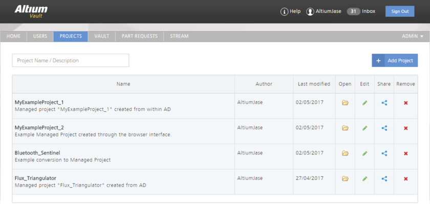 The PROJECTS page of the Vault's browser interface - command central for managing your managed projects.