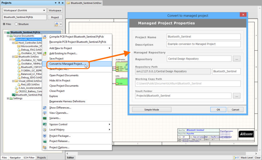 Convert an existing project to a Managed Project.