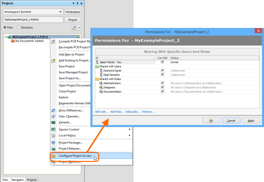 Configure access to your Managed Project directly from within Altium Designer.